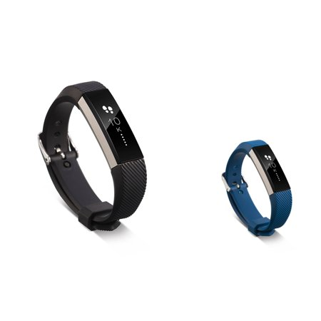Zodaca Soft TPU Rubber Adjustable Wristbands with Secure Metal Buckle Watch Band Strap For Fitbit Alta HR / Alta - Black+Dark Blue
