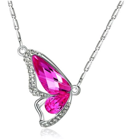 ON SALE - Wondrous Wings Crystal Butterfly Necklace ~ In Ten Colors Fuschia