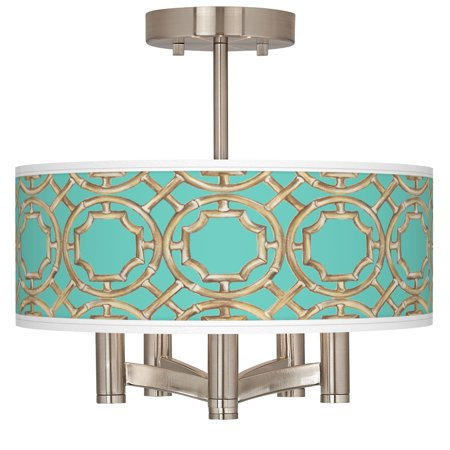 Giclee Glow Teal Bamboo Trellis Ava 5-Light Nickel Ceiling Light