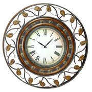 Decmode - Rustic 36 Inch Round Iron Wall Clock With Leaf Scroll Fretwork Design