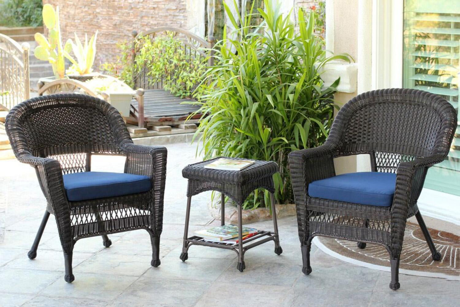 4 Piece Black Resin Wicker Patio Furniture Set Loveseat 2 Chairs Glass Top Table