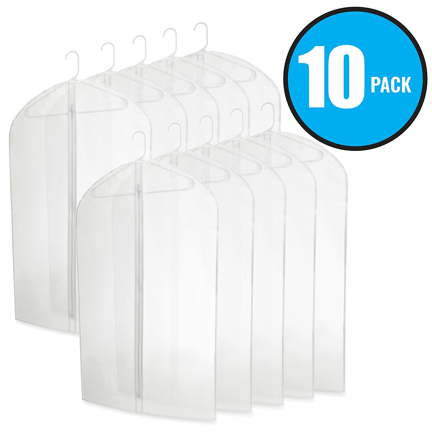 Plixio 40 Inch PEVA Garment Bags - Clear Plastic Hanging Clothing Storage for Suits or Dresses (10 Pack)