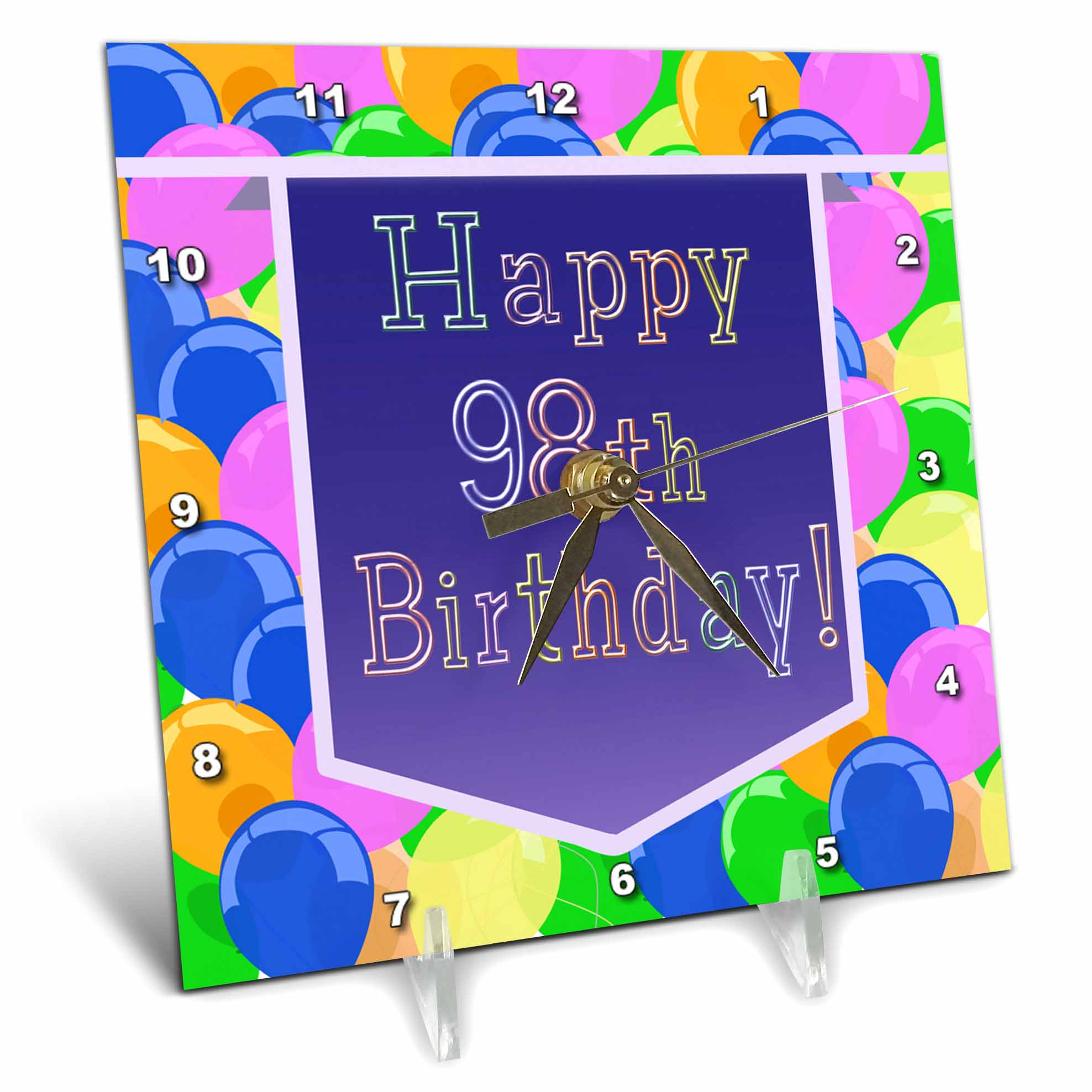 3dRose Balloons with Purple Banner Happy 98th Birthday, Desk Clock, 6 by 6-inch