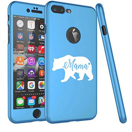 360° Full Body Thin Slim Hard Case Cover + Tempered Glass Screen Protector for Apple iPhone Mama Bear Mom Mother (Light-Blue, for Apple iPhone 6 / 6s)