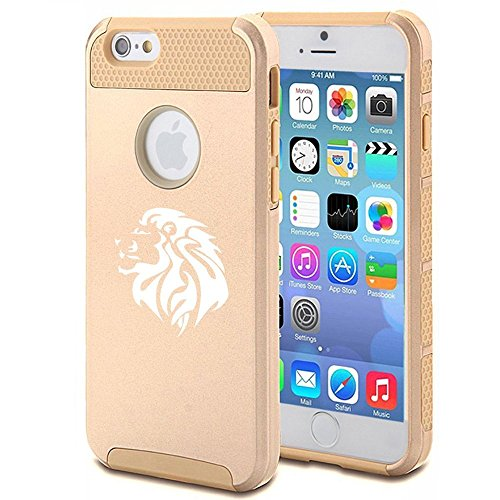 Apple iPhone SE Shockproof Impact Hard Soft Case Cover Tribal Lion Head (Gold),MIP
