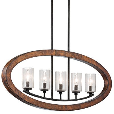 43186Aub Grand Bank 5Lt Linear Pendant  Auburn Stained Finish With Clear Seedy Glass Shades