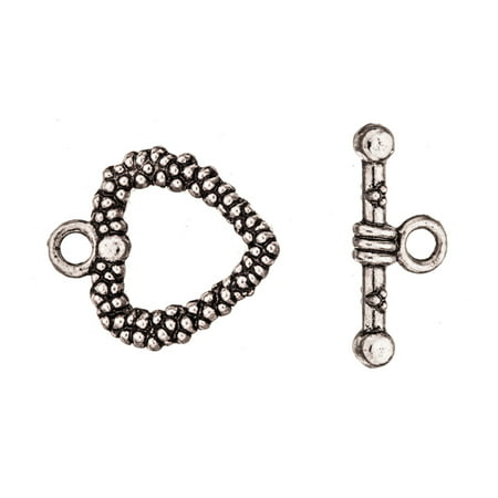 Heart Shape Wreath Toggle Clasp Antique-Silver Plated 16/19.5mmx19/8.2mm Sold per pkg of 5pair ()