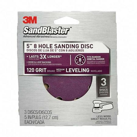 3M SandBlaster Sanding Discs, 5 in x 8Hole, 120 grit, 3/pack