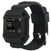 Moretek Fitbit Blaze Watch Band, Rugged Protective Frame Case Strap Bands for Fitbit Blaze (Black)