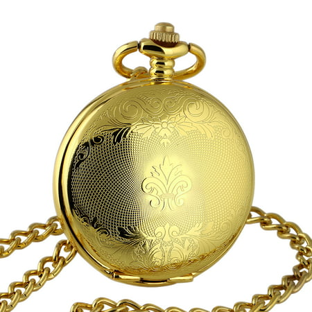 Black White Gold Pocket Watch (Hand-winding Black Dial Mechanical Pocket Watch Gold White Hollow Hands )