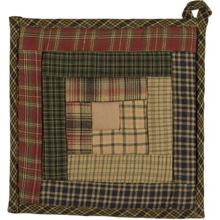 Moss Green Rustic & Lodge Tabletop Kitchen Kilton Green Fabric Loop Cotton Patchwork Pot Holder