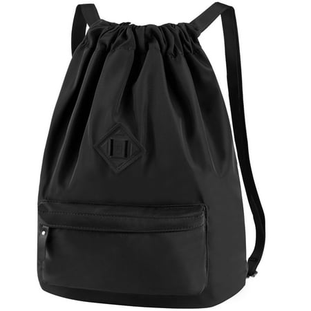 Vbiger Unisex Drawstring Backpack Chic School Shoulder Bag Trendy Drawstring Sackpack Casual Outdoor Daypack, Black