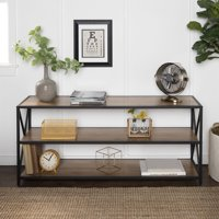 Deals on Manor Park Rustic Barnwood and Metal 3-Shelf Bookshelf