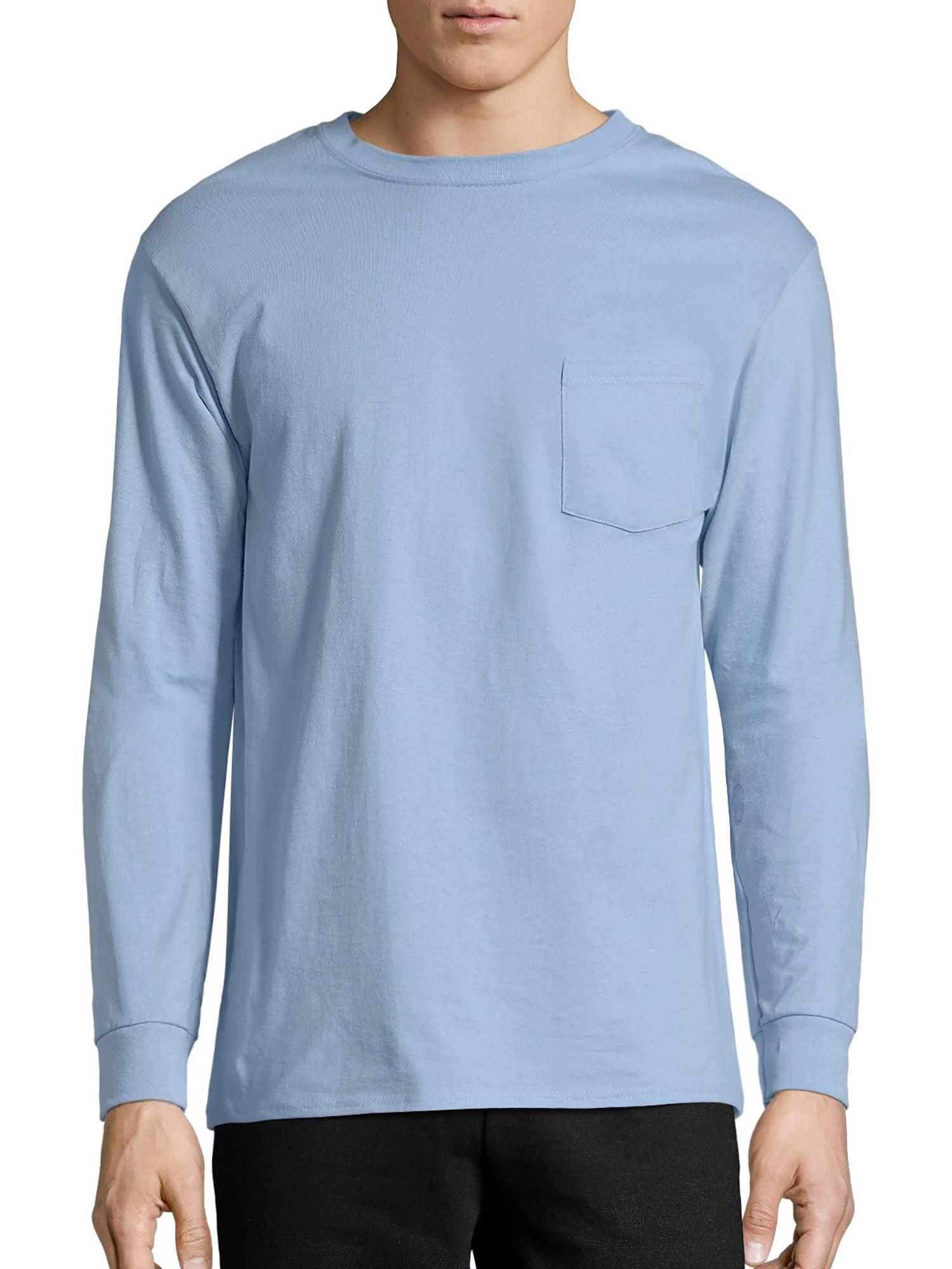 53d3345f310 Hanes - Hanes Men s Tagless Cotton Long Sleeve Pocket Tshirt - Walmart.com