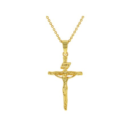 18k Gold Plated Crucifix Jesus Christ Cross Necklace Religious Pendant (18k Solid Gold)