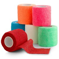 """6 Pack, Self Adherent Cohesive Tape - 2"""" x 5 Yards, Self Adhesive Bandage Rolls & Sports Athletic Wrap for Ankle, Wrist, Knee Sprains and Swelling, Vet Wraps in Assorted Neon Colors - FDA Approved"""