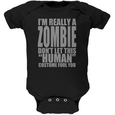 Halloween Human Zombie Costume Black Soft Baby One Piece