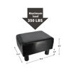 May in Color Small Ottoman Footrest PU Leather Footstool Rectangular Seat Stool Black