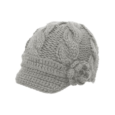 Women Light Grey Crochet Front Brim Winter Hat with Flower Black Beanie -