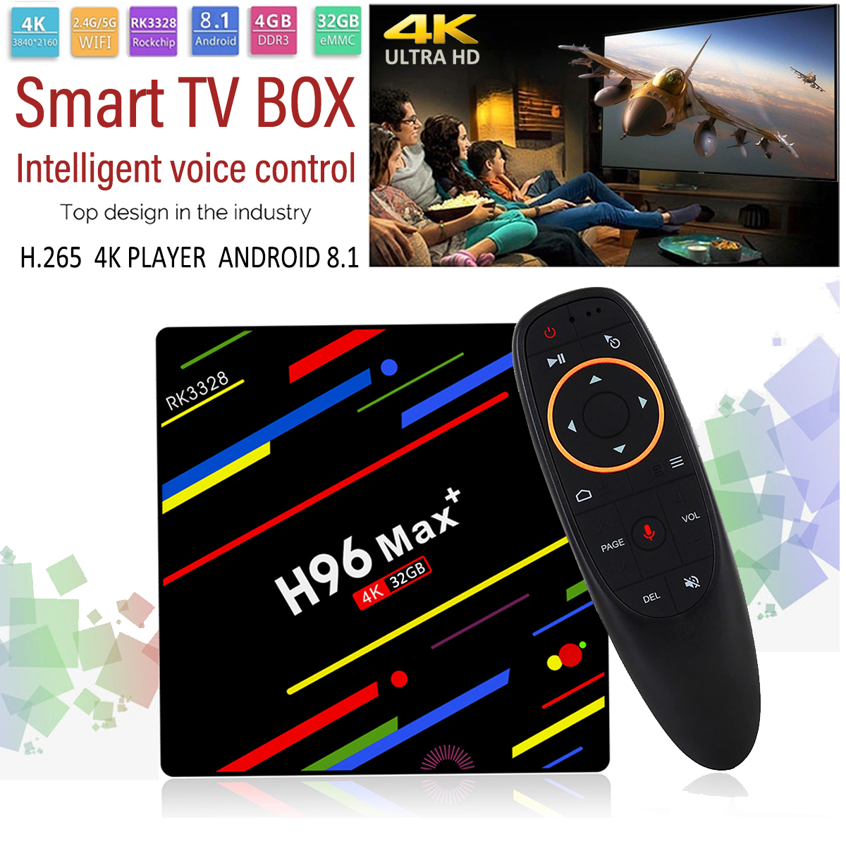 H96 Max Plus RK3328 4G/32G Android 8.1 USB3.0 Voice Control TV Box Support
