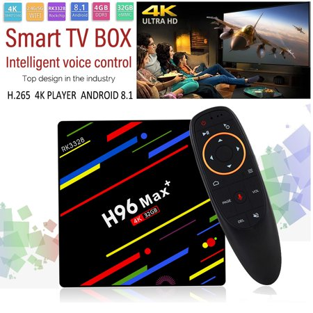 H96 Max Plus RK3328 4G/32G Android 8.1 USB3.0 Voice Control TV Box Support HD Netflix 4K