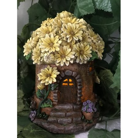HI-LINE GIFT LTD  FAIRY GARDEN - HOUSE WITH YELLOW FLORAL ROOF & SOLAR LIGHT