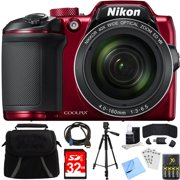 Nikon 26508 COOLPIX B500 16MP 40x Optical Zoom Digital Camera Red Bundle with 32GB Memory Card, Camera Bag, 60 Inch Tripod 4x Rechargeable AA Batteries with Charger and HDMI Cable