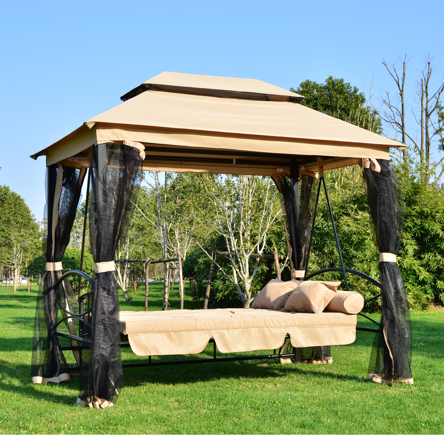 Outsunny Outdoor Person Patio Daybed Canopy Gazebo Swing Tan W