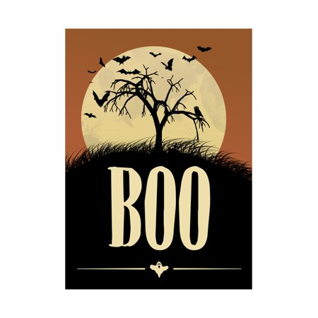 Moon Orange Sky Tree On Hill Bats Flying Picture Boo Print Scary Halloween Seasonal Decoration Sign