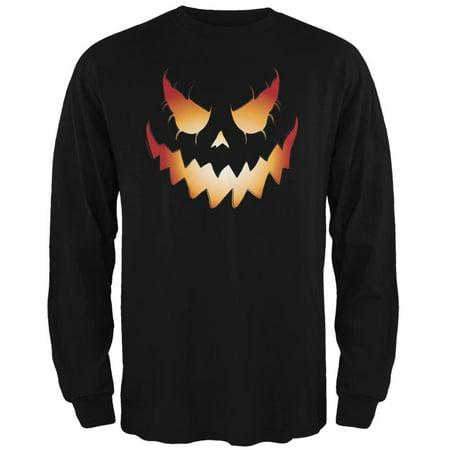 Halloween Evil Jack-O-Lantern Pumpkin Black Adult Long Sleeve T-Shirt (Why Pumpkin On Halloween)