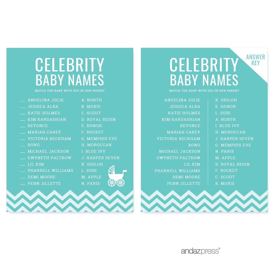 Celebrity Name Game Diamond Blue Chevron Baby Shower Games, 20-Pack