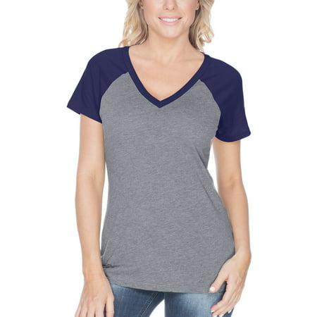 Kavio! Women Sheer Jersey Contrast V Neck Raglan Short Sleeve Dark H.Gray/Navy XL