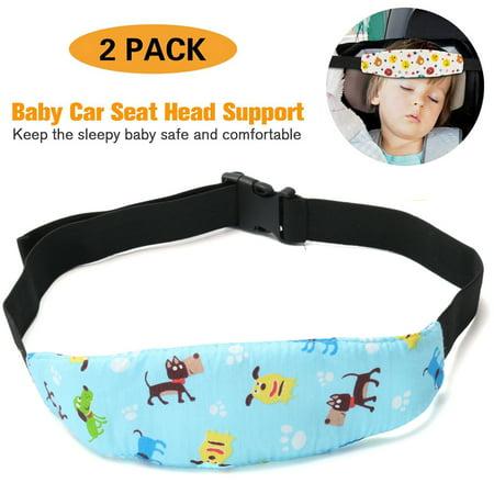 2-Pack Adjustable Safety Baby Kids Car Seat Neck Relief Head Support Safety Stroller Sleeping Belt, Light Blue Dog - image 5 de 5