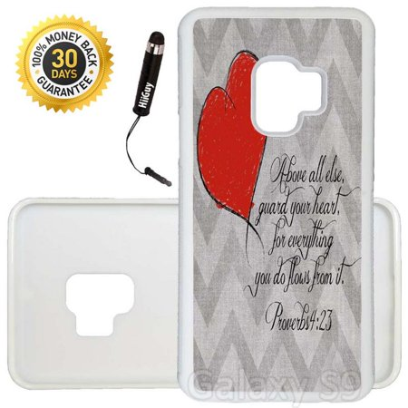 Custom Galaxy S9 Case (Above else guard your heart Quote) Edge-to-Edge Rubber White Cover Ultra Slim   Lightweight   Includes Stylus Pen by Innosub