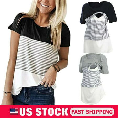 f8b46ca26b941 The Noble Collection - The Noble Collection Women Maternity Breastfeeding  Tee Nursing Tops Striped Short Sleeve T-shirt - Walmart.com