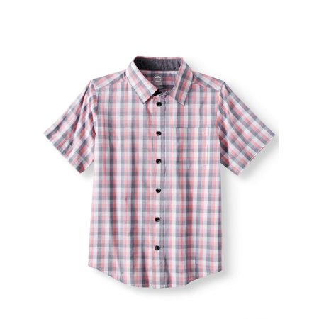 Wonder Nation Short Sleeve Stretch Button Up Plaid Shirt (Little Boys, Big Boys, & Husky)