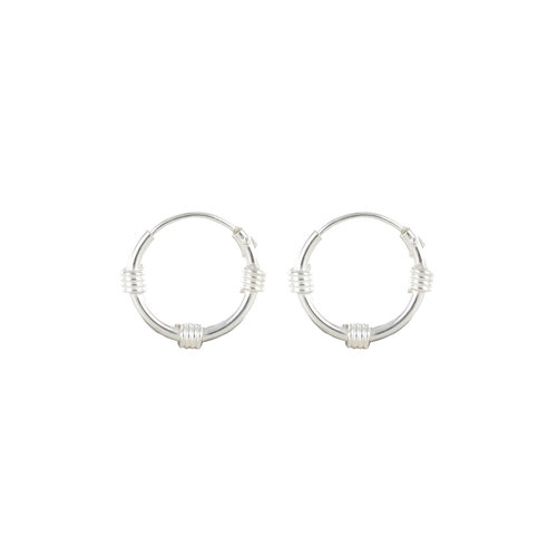 Sterling Silver Thin Bali Hoop Earrings