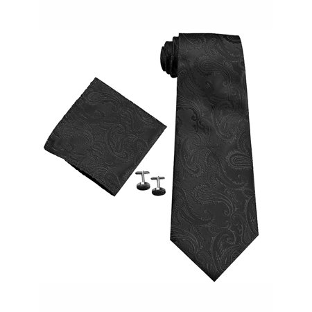 Necktie Cufflinks (Mens Tie, Coxeer Jacquard Weave Tie Necktie Cufflinks Handkerchief Set for Business Wedding (Black))