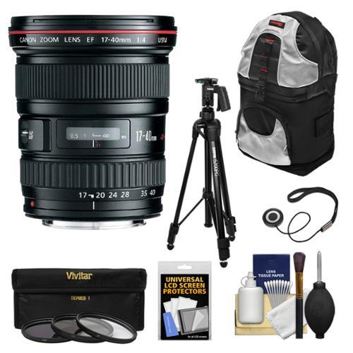Canon EF 17-40mm f/4 L USM Zoom Lens with Tripod + 3 Filters + Backpack + Kit for EOS 6D, 70D, 5D Mark II III, Rebel T3, T3i, T4i, T5, T5i, SL1 DSLR Cameras