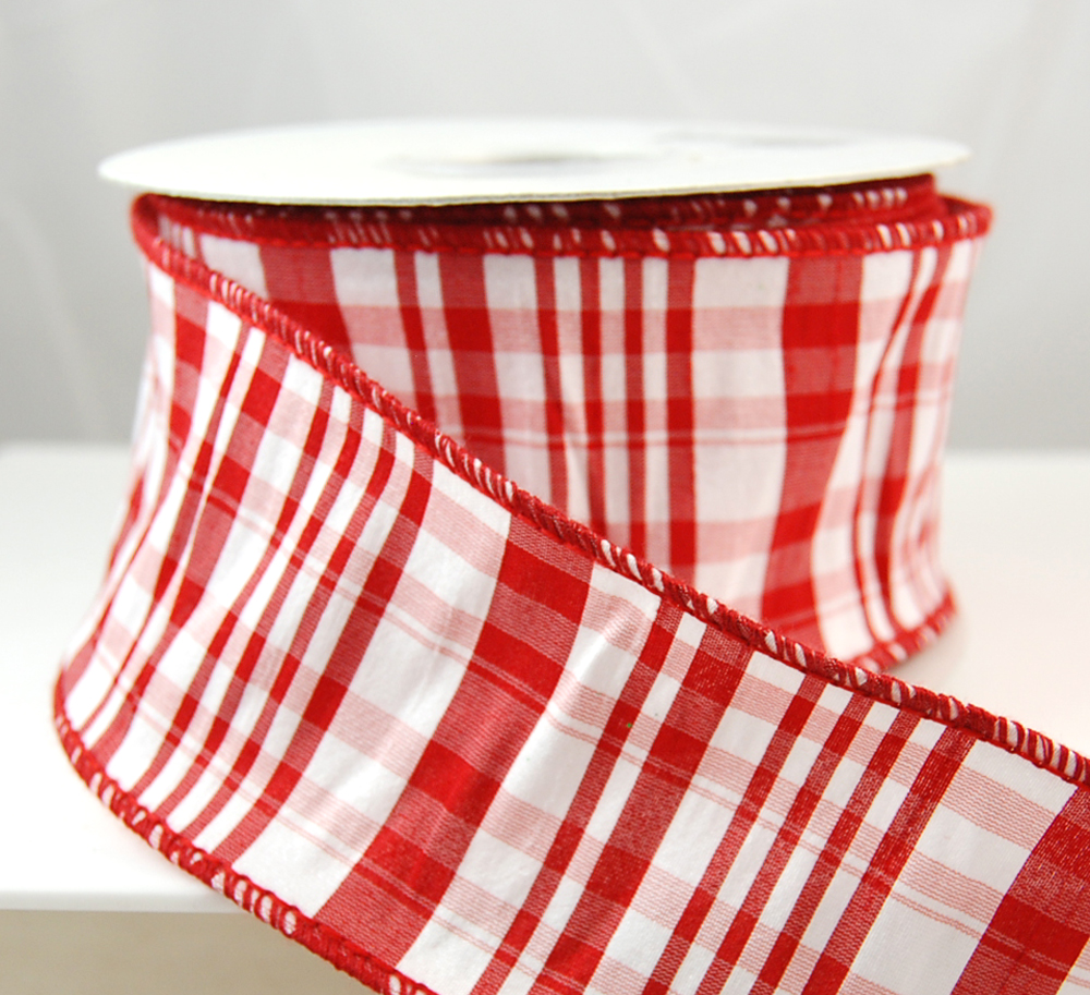 """Aspen Wired Red and White Striped Christmas Ribbon 2 1/2"""" 10 Yards"""