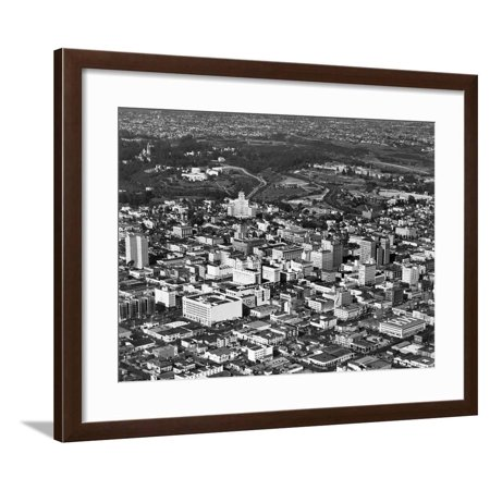 1950s Hotel (1950s Aerial View Showing El Cortez Hotel and Balboa Park Downtown San Diego, California Framed Print Wall)