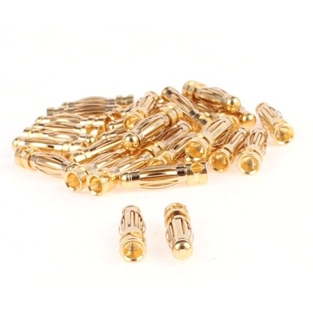 3mm Inner Diameter Male Banana Plug Connector Replacement Gold Tone 30pcs