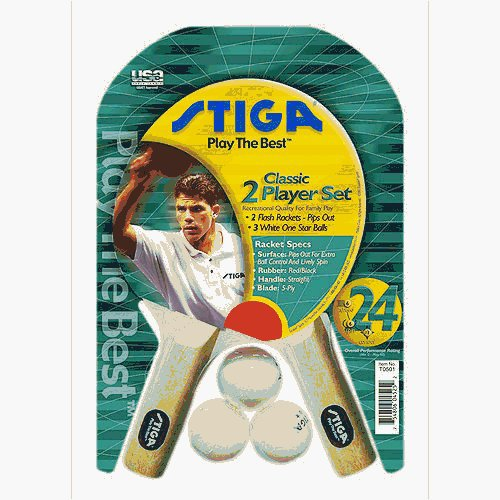Stiga 2 Player Table Tennis Racket Set (Pips Out)