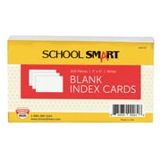School Smart Blank Plain Index Card, 3 x 5 Inches, White, Pack of 100