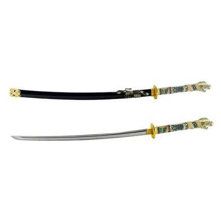 "makoto handmade sharp japanese katana samurai sword 42"" full size black - detailed dragon head handle"