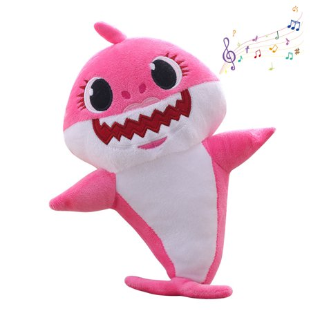 Mignova Shark Baby Singing Plush Doll,Cute Cartoon Shark Plush Toy Singing Children English Song Gift boy Girl Shark Baby Plush(Pink) (Shark Toys Kids)