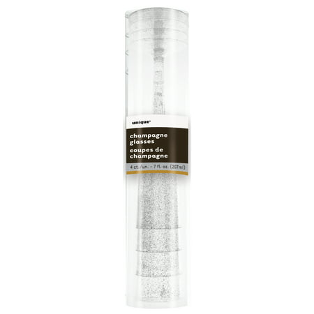 Unique Industries Plastic Champagne Flutes, 7 oz, Silver Glitter, 4ct