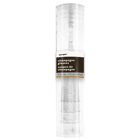 Unique Industries Plastic Champagne Flutes, 7 oz, Silver Glitter, 4ct](Champagne Beverage)