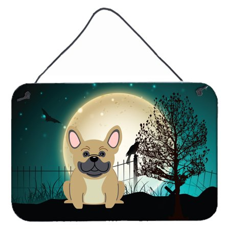 Bulldogs Hanging (Halloween Scary French Bulldog Cream Wall or Door Hanging Prints BB2200DS812)