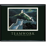 "Advantus ""Teamwork"" (Great Wall Of China) Framed Motivational Print, 30"" x 24"""